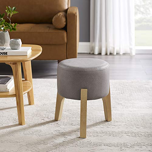 Volans Foot Stool, Mid Century Modern Vintage Leathaire Low Small Round Upholstered Makeup Vanity Stool Ottoman with Detachable Stackable Tripod Wooden Accent Stool for Home Office, Light Gray (Stackable Ottoman)