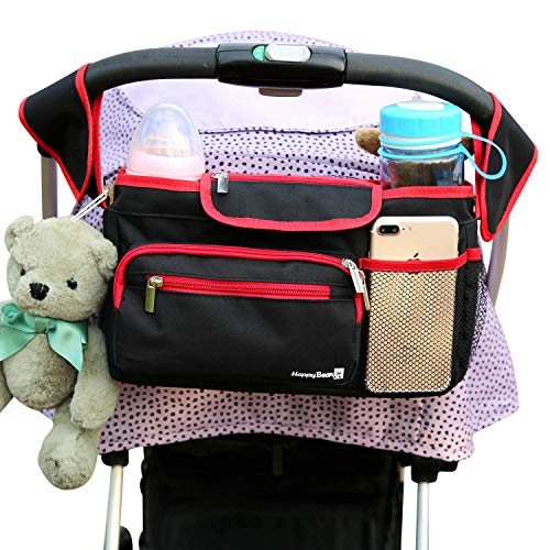Jogging Stroller Parent Console - Universal Stroller Organizer Bag with Deep Cup Holders - Large Stroller Caddy with Carrying Strap & Zip Pouches - Best Stroller Storage Accessories for Double & Umbrella Stroller - Bonus Face Towels