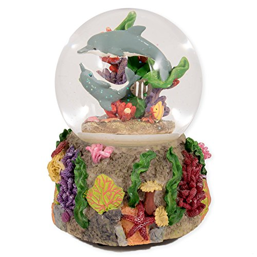 Dolphins Playing in the Reef Glass Musical Snow Globe Plays Song By the Beautiful Sea
