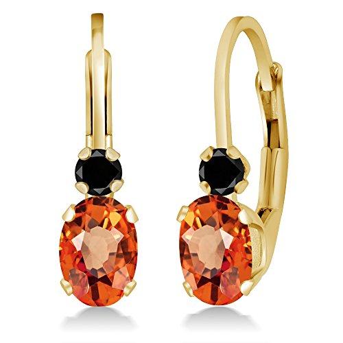 Gem Stone King 1.17 Ct Oval Orange Sapphire Black Diamond 14K Yellow Gold Earrings