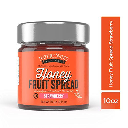 Nature Nate's Strawberry Honey Fruit Spread; Naturally Sweetened with Pure Honey and Flavored by Strawberries; Great for Spreading, Snacking and Sharing; Certified OU Kosher and Gluten-Free; 10 (Honey Cream Cheese Spread)