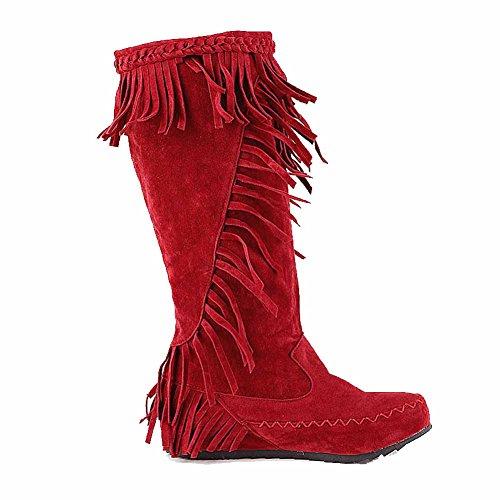 AllhqFashion Mujeres Caña Media Sin cordones Mini Tacón Puntera Redonda Botas con Diamante Rojo