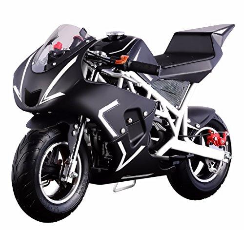 V-Fire 4-Stroke 40CC Kids Gas Pocket Bike (EPA Registered), White/Black