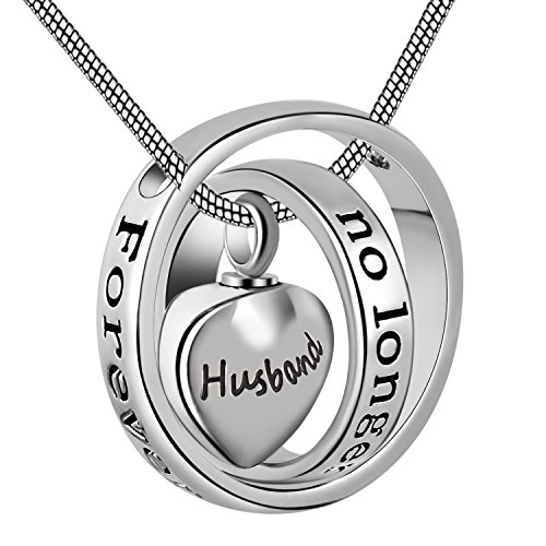 Eternally Loved No Longer by My Side,Forever in My Heart Carved Locket Cremation Urn Necklace for mom & dad (Husband)