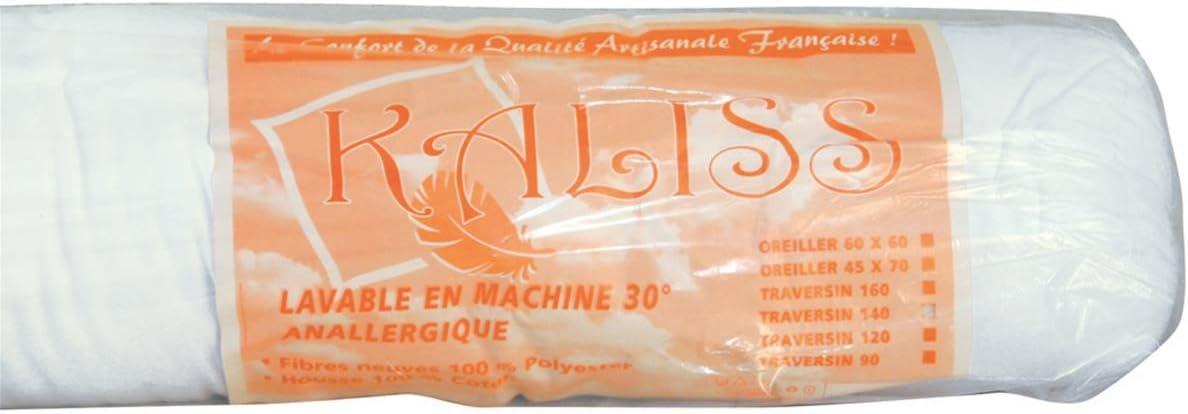 Fabrication Fran/çaise 80 cm Le linge de Jules Traversin Anallergique 500Gr//m2