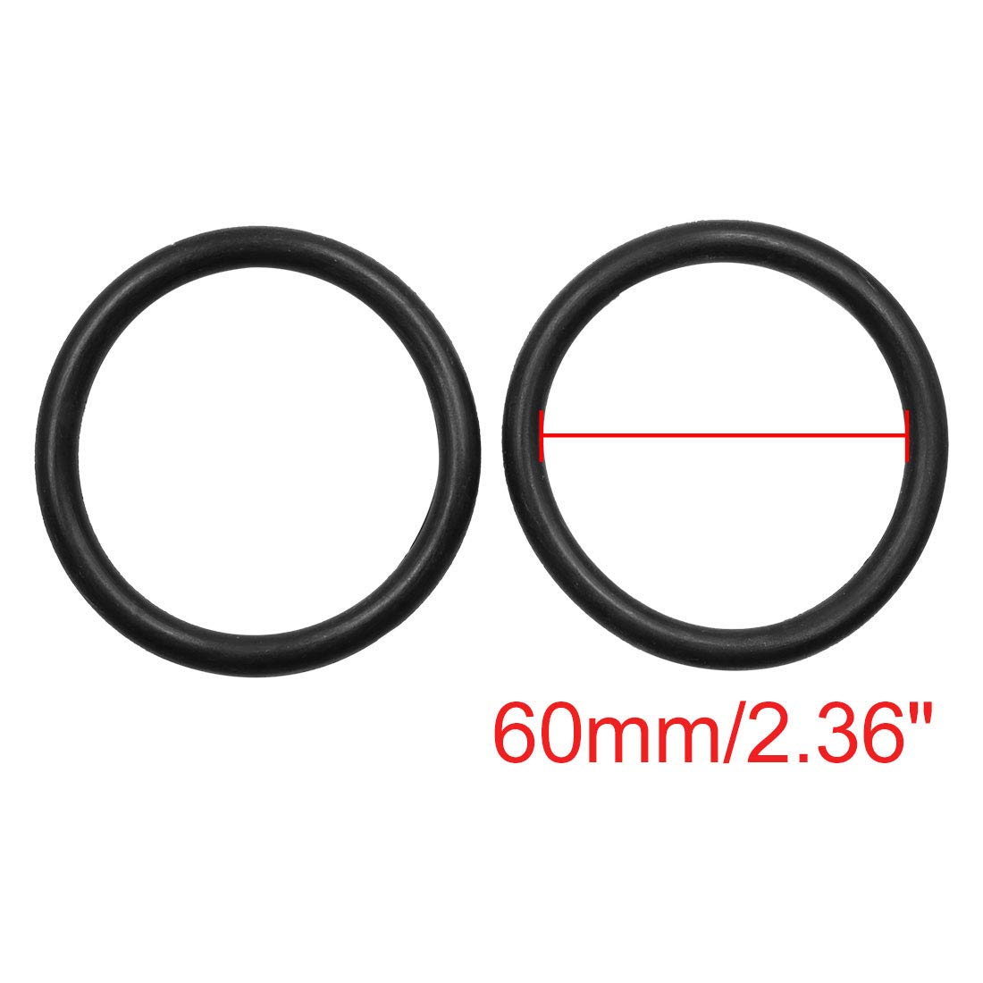 X AUTOHAUX 10pcs Black NBR O-Ring Seal Gasket Washer for Car 60mm x 7mm