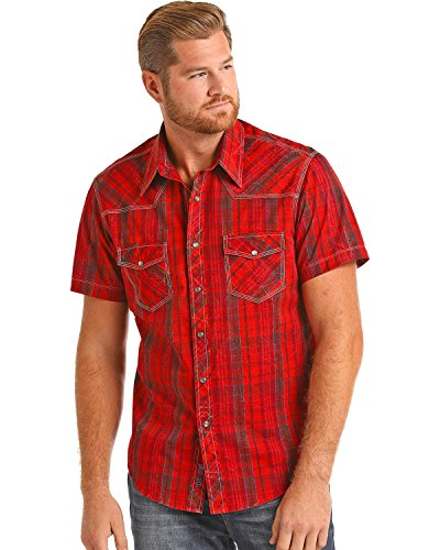(Rock & Roll Cowboy Men's and Crinkle Wash Plaid Shirt Red Large)