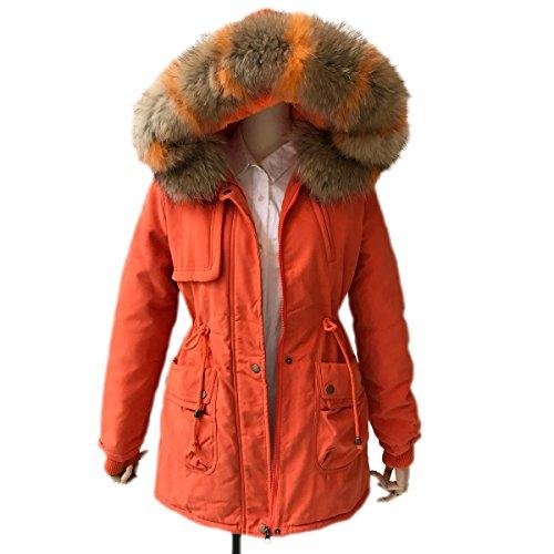 Niveles Damen Mantel Wintermantel Winterparka Invierno Gran Cuello De Piel Cachemira Sección Larga Herramientas Rellenado Femenino Acolchado naranja