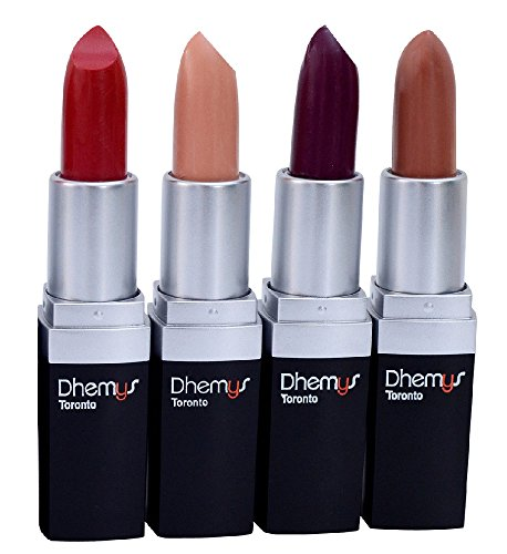 Dhemys Luxury Long Lasting Satin Lipstick 4 piece set – Lightweight Full Coverage Formula for Velvety Smooth Satin Finish. Net Wt. 3.6g / 0.13 US oz each.