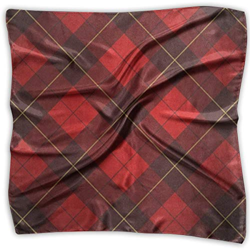 Girl's Silk Scarf Black Red Plaid Check Printed Square Scarf Sunscreen Shawls 23.6