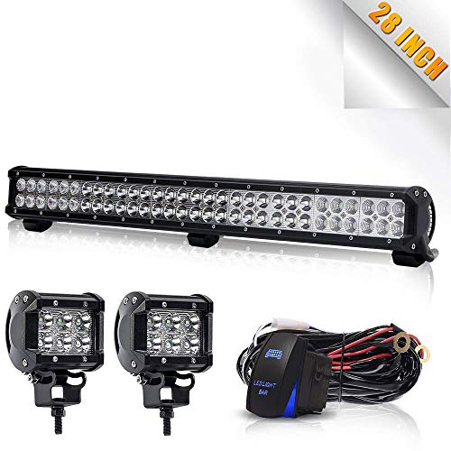 "TURBOSII DOT Approved 28""180W 12V-24V Spot Flood Offroad Led Light Bar + 4IN Pods Cube Fog lights Auxiliary Driving Lamp On Bumper Roof Grille Windshield For UTV Truck Tacoma ATV Jeep Polaris RZR GMC"