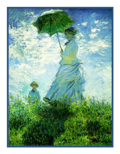 Woman with a Parasol by Claude Monet Counted Cross Stitch Pattern (Woman Cross Counted Stitch)