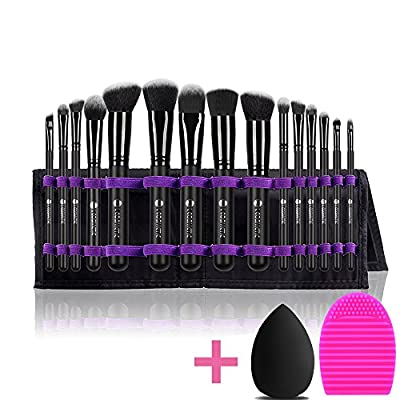 L COSMETIC(TM) Makeup Brushes Set Professional 15 Pcs Natural Hair Synthetic Cosmetic Brushes Eyeshadow Concealer Powder Brushes Cleaning and Brush Egg With Case For Christmas Gifts