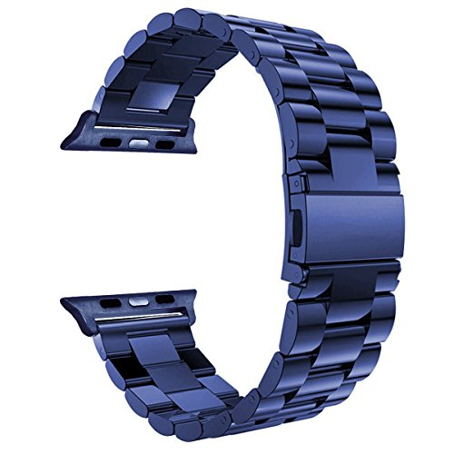 Valuebuybuy Stainless Steel Metal Clasp Buckle Wrist Strap Apple Watch - Midnight - Metal Blue