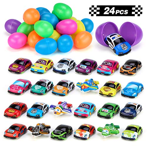 24 Easter Eggs Filled with Cartoon Pull Back Vehicles for Easter Basket Stuffers/Party Favors