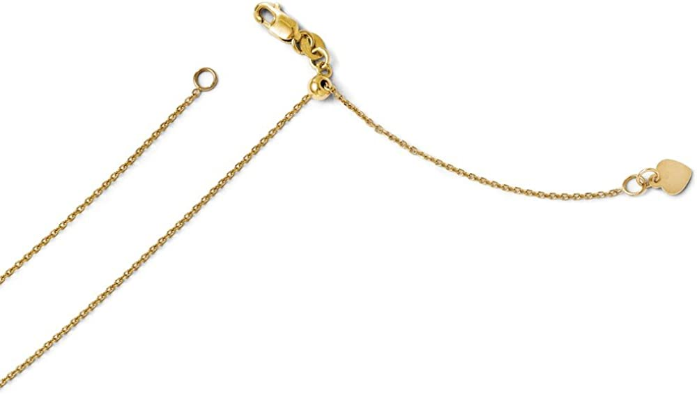14K Yellow Gold Chais Pendant on an Adjustable 14K Yellow Gold Chain Necklace