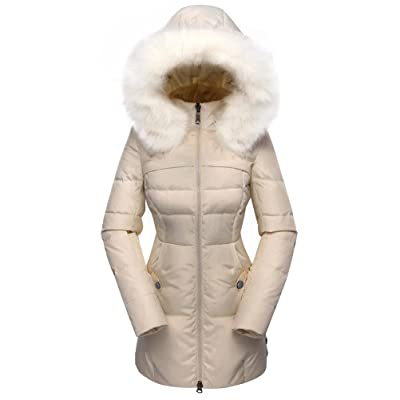 Beinia Valuker Women's Down Coat with Fur Hood with 90% Down Parka Puffer Jacket: Clothing