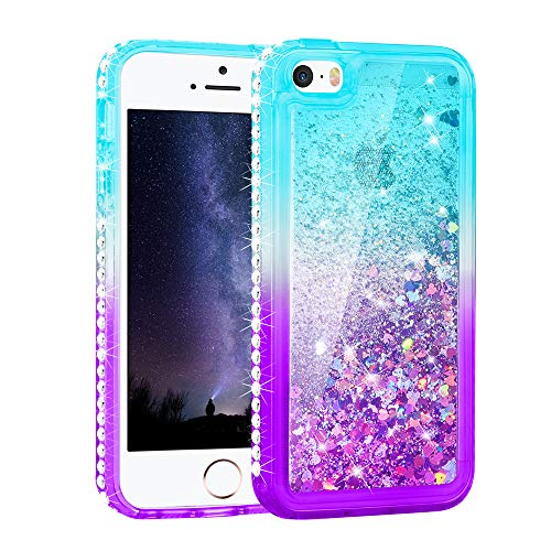 Maxdara Case for iPhone 5 5S SE with Colorful Glitter Liquid Quicksand Floating Bling Diamond TPU Bumper Girls Women Protective Case for SE 5 5S (Teal Purple) (Best Friend Cases For Iphone 5)