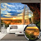 Waterfall at Sunset - XXL Mural Waterfall Sunset- Poster 132.3 Inch x 93.7 Inch
