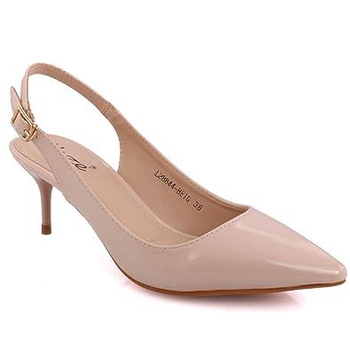 6ed489f1328 Unze Women Viveca Sling Back Shaded Evening Stiletto Closed Toe Office  Dress Patent Heel Sandals UK