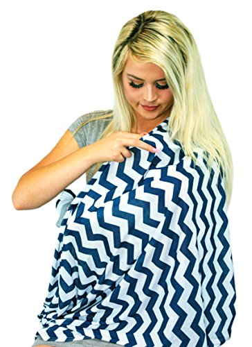 Multi-Use Baby Breastfeeding Infinity Nursing Cover / Nursing Scarf - Tykes & Tails Navy Blue / White Chevron Pattern - Many Colors and Patterns of Premium Breastfeeding (Colour Goes Navy Blue)