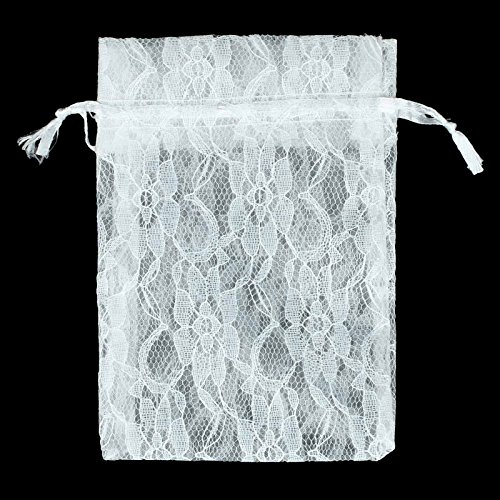 vLoveLife 12pcs White 4'' x 6'' Lace Gift Bags with Drawstring Two Layers Floral Lace + Organza Favor Pouches Wrap for Wedding Party Gift Favor Bags Candy Pouches