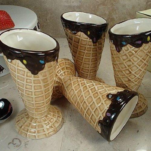 - 4 Piece Design Ceramic Ice Cream Bowl Set