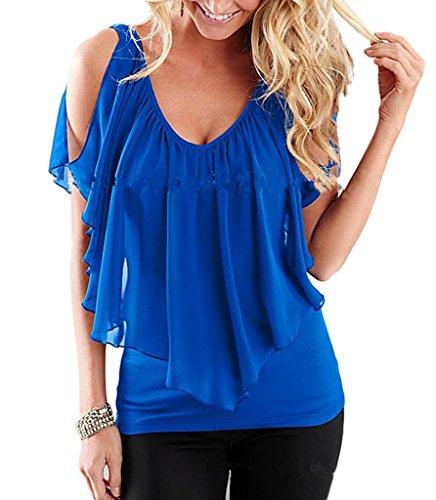 Epaule V Mousseline Chemise YKK Blouse shirt de Courtes Nue T Soie Manches Col Smile Top Bleu Femme C78wwq