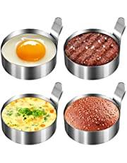 Koicaxy Egg Ring, 304 Stainless Steel Egg Mold with Heat Resistant Mitts Potholder Cooking Rings Egg Pancake Shaper Non Stick Fried Egg Rings For Egg McMuffins Omelet Biscuits, Egg Cooker Rings 4 Pack
