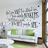 V&C Designs Ltd (TM) Alice in Wonderland The Mad Hatter Have I Gone Mad? Quote Large Statement Wall Sticker Mural Vinyl Decal