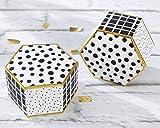 Kate Aspen Modern Classic Hexagon Favor Box (Set of 12), White, Black and Gold