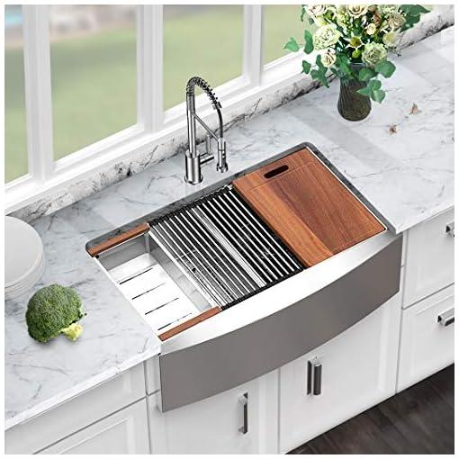 Farmhouse Kitchen 33 Farmhouse Sink Double Stainless – Sarlai 33 Inch Kitchen Sink Apron Front Ledge Workstation Low Divide Double Bowl 50… farmhouse kitchen sinks