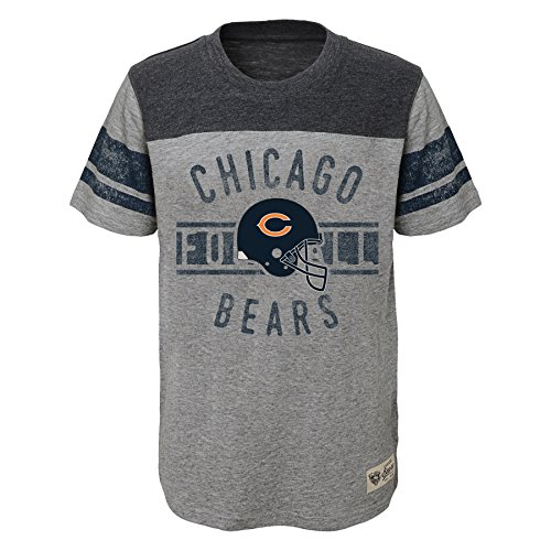 Outerstuff NFL Chicago Bears Boys Lineage Short Sleeve Slub Tee, Heather Grey, Large (14-16)