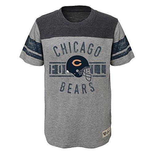 Outerstuff NFL Chicago Bears Boys Lineage Short Sleeve Slub Tee, Heather Grey, Large (14-16) (Nfl Slub Tee)