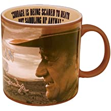 "Vandor 15063 John Wayne 20 oz Ceramic ""Courage"" Mug, Brown"