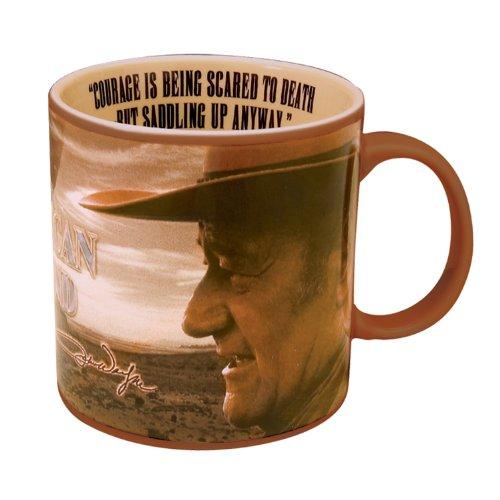 "Vandor 15063 John Wayne 20 oz Ceramic ""Courage"" Mug, Brown"