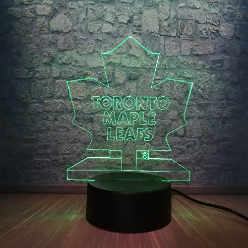 3D Illusion LED Lamp Atmosphere Nightlight Hockey Toronto Maple Leaf Lighting Holiday Gifts Toy Flash Party Home ()