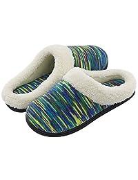 RockDove Women's Plush Woolen Memory Foam Slippers, Indoor Slip On House Shoes