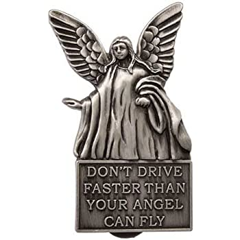 Angel Flies Visor Clip Pewter - Don't Drive Faster Than Angel Flies Silver