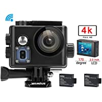 WiMiUS 4K 16MP Wifi Sports Action Camera Ultra HD Waterproof 1080P DV Camcorder 170 Degree Wide Angle Video Camera Car Helmet Camcorder 2.0 inch LCD Screen (Q6/Black)