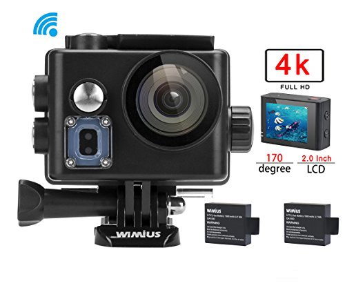 WiMiUS 4K 16MP Wifi Sports Action Camera Ultra HD Waterproof 1080P DV Camcorder 170 Degree Wide Angle Video Camera Car Helmet Camcorder 2.0 inch LCD Screen (Upgrated Q6/Black) Action Cameras WiMiUS®