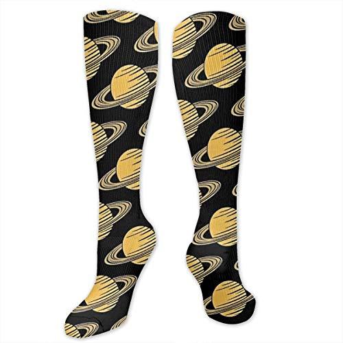 SARA NELL Knee High Socks Saturn Planet Universe Galaxy Compression Socks Sports Athletic Socks Tube Stockings Long Socks Funny Personalized Gift Socks for Men Women