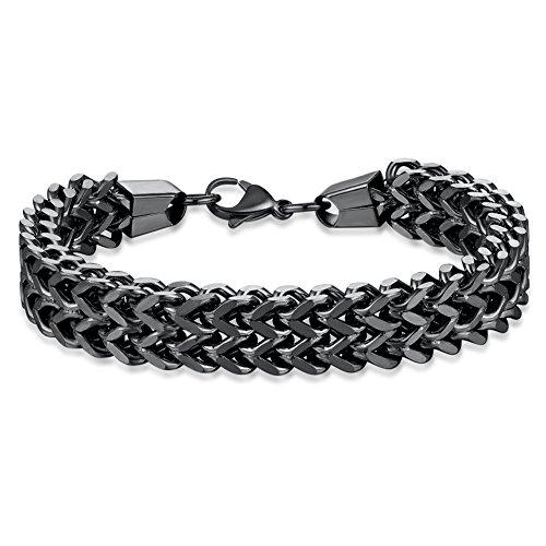 WIBERN 12MM Wide Black Tone Double Strand Curb Chain Link Bracelet for Men Women Stainless Steel Link, 8.0-8.6'' (Black, - Chain Link Curb Double