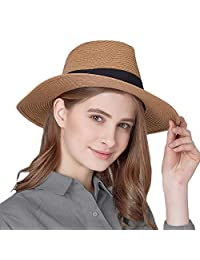 Taylormia Panama Hat for Women Sun Hat Summer UV Protection Foldable Straw Hat 50+ UPF