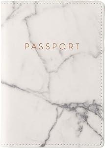 Eccolo World Traveler Travel Passport Cover Case with Storage Pocket, Marble, 6.4X4