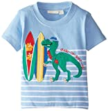 Jojo Maman Bebe Baby Boys' Dude Oh Saur Us T Shirt, Blue/White Stripe, 12 18 Months