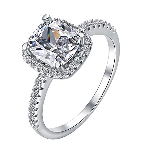 TenFit Jewelry Womens 18K White Gold Plated Princess Cut CZ Crystal Engagement Rings Best Promise Rings
