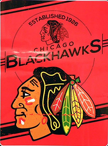 (The Northwest Company Officially Licensed NHL Chicago Blackhawks Stamp Plush Raschel Throw Blanket, 60