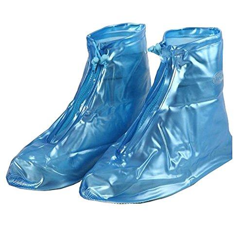Women and Men Waterproof Shoes Cover Rain Snow Boots Covers Reusable Slip-resistant Rain Covers (XXXL, blue)