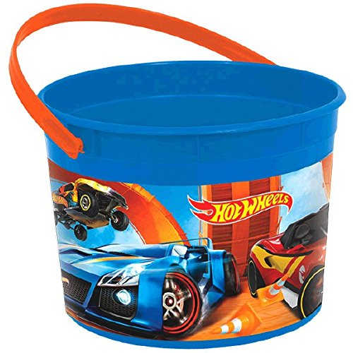 Fast Riding Hot Wheels Wild Racer Birthday Party Favor Container, Multi Colored, Plastic, 4 1/2
